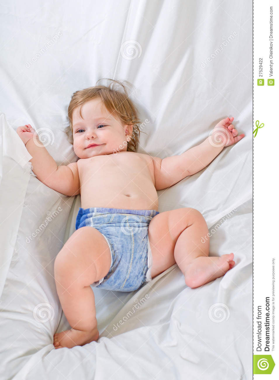 Cute Baby Girl Smiles On White Cloth Stock Photography ...