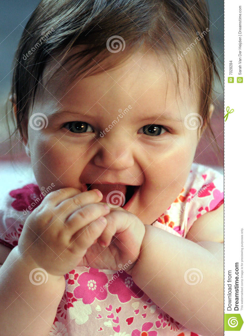 c0fa707db6cf Cute baby girl smiling stock photo. Image of grinning - 7028284