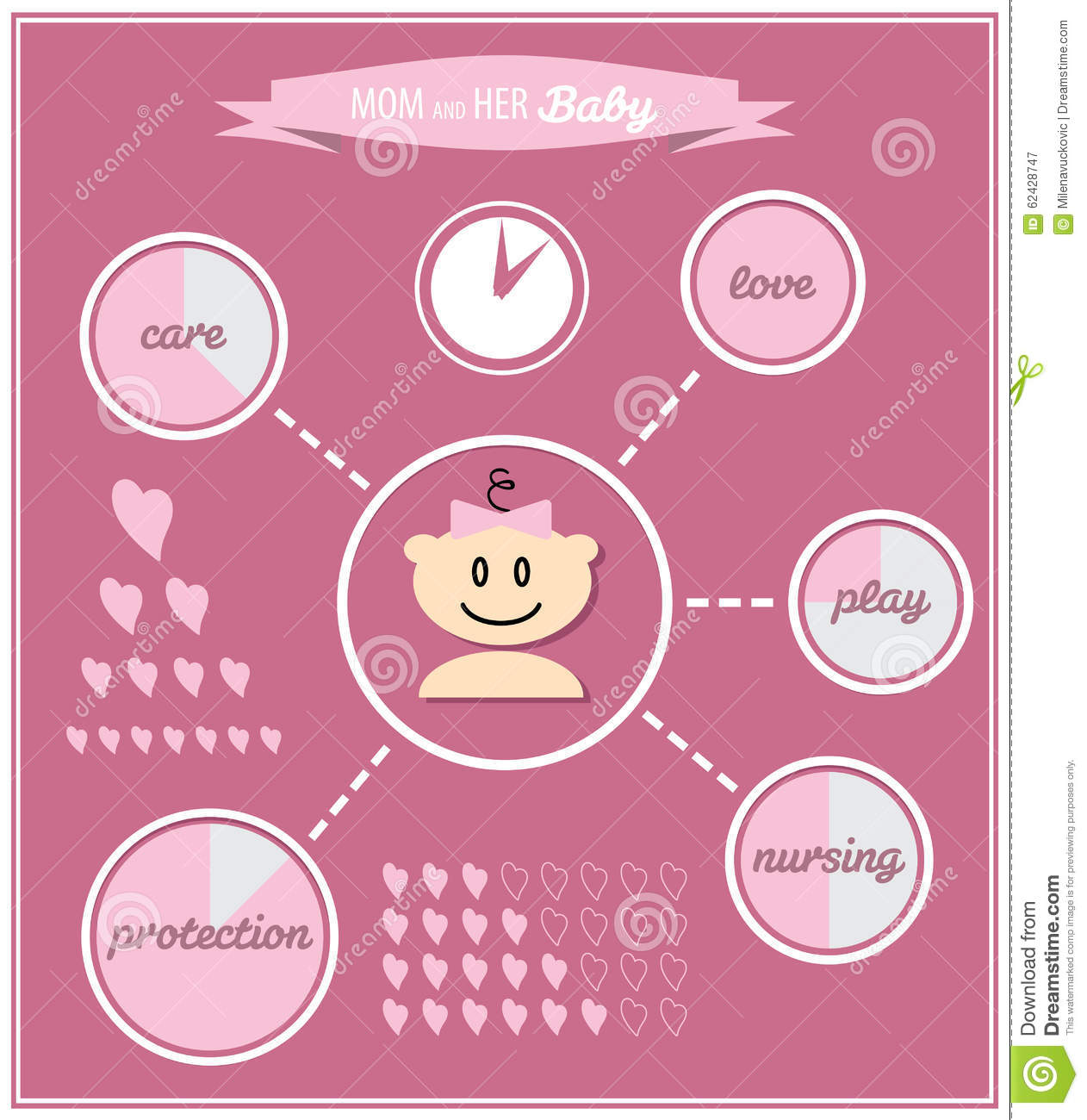 cute baby girl symbols stock vector image 62428747