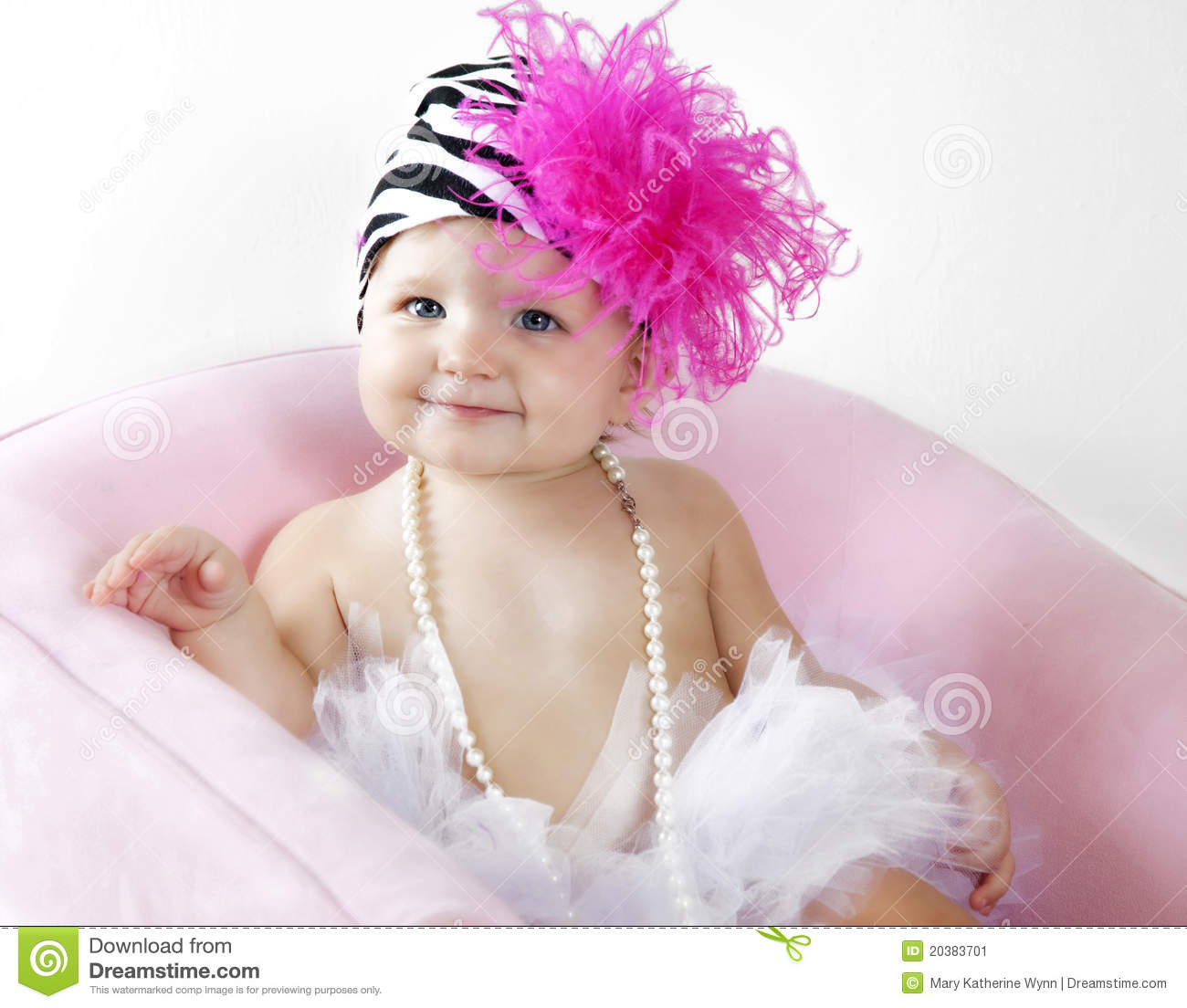 cute baby girl in tutu and hat stock image - image of happy, pretty