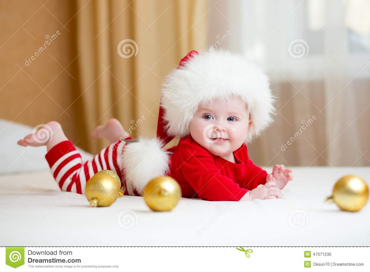Cute Baby Girl Weared Christmas Clothes Stock Photo - Image: 47071230