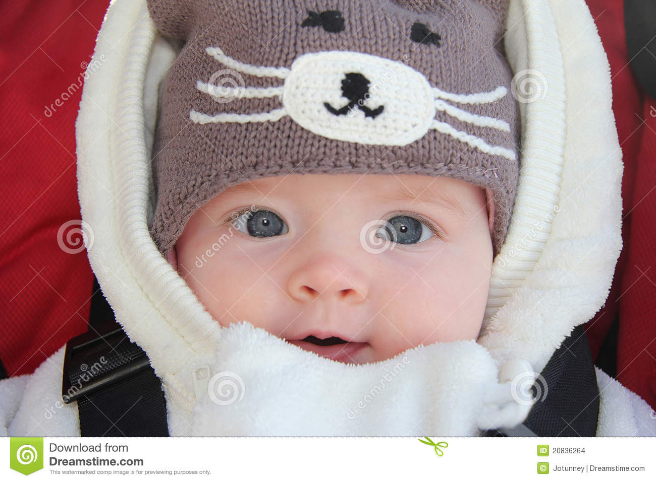 b813a4bd6 Cute Baby Girl Wearing Fun Winter Hat Stock Photo - Image of baby ...