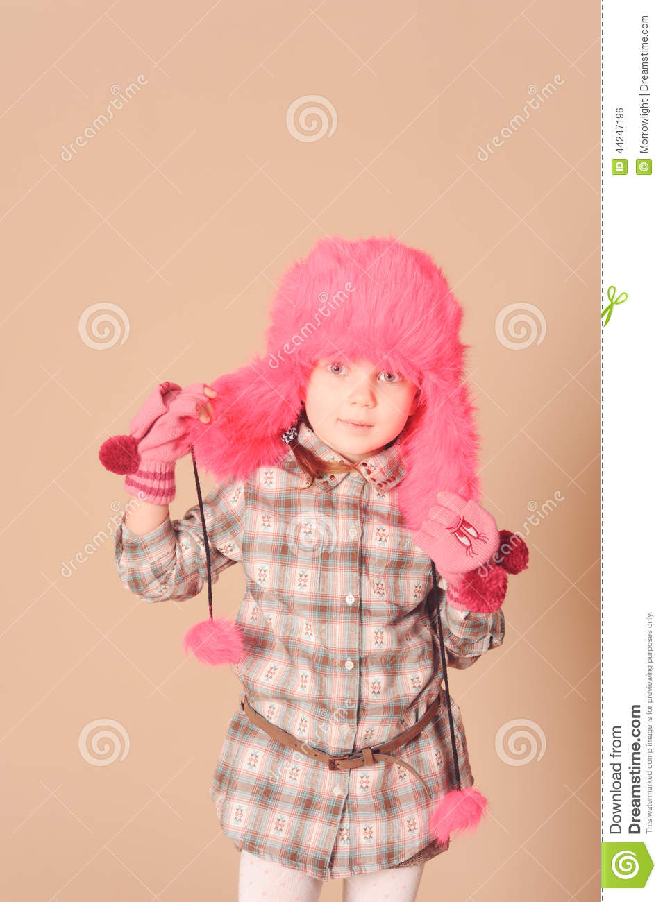 Cute Baby Girl Wearing Winter Clothes Stock Image