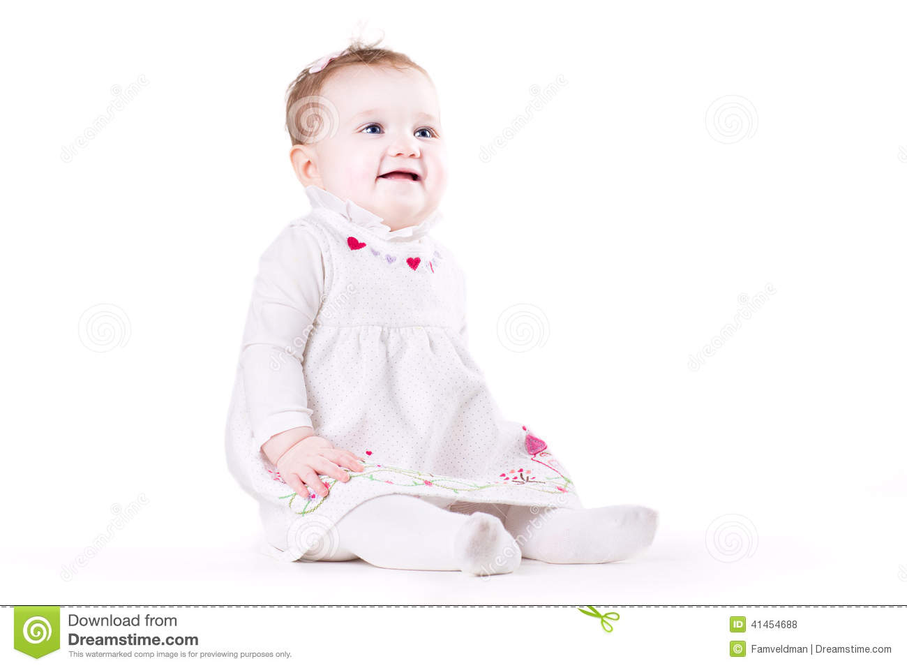 Cute Baby Girl In A White Dress Stock Photo Image 41454688