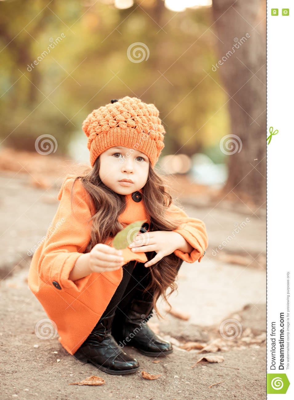 cute baby girl in winter clothes stock image - image of fashion