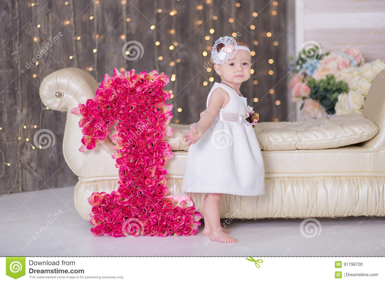Cute Baby Girl 1 2 Year Old Sitting On Floor With Pink Balloons In