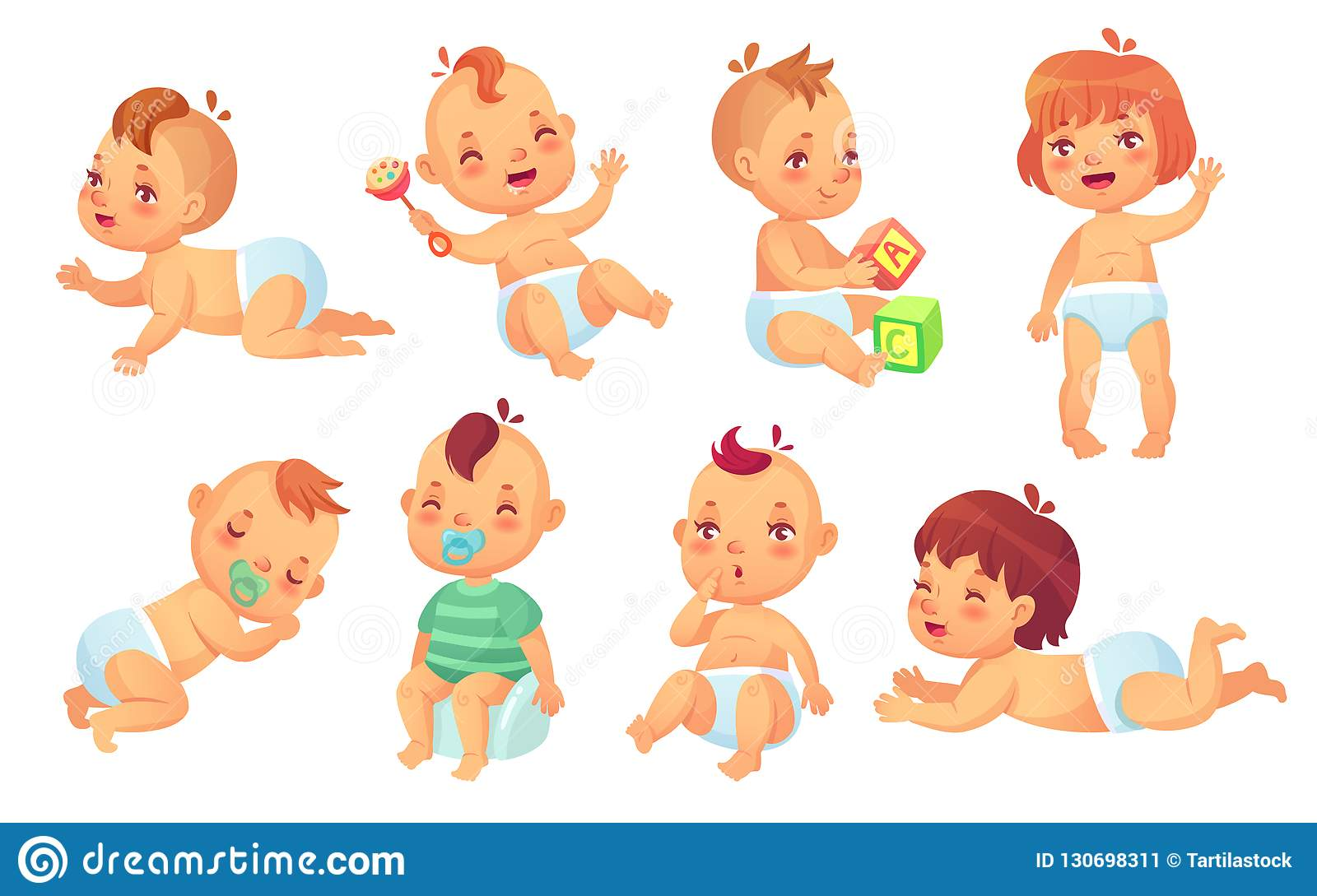 40abf4e54 Cute baby. Happy cartoon babies, smiling and laughing toddler isolated  vector character set