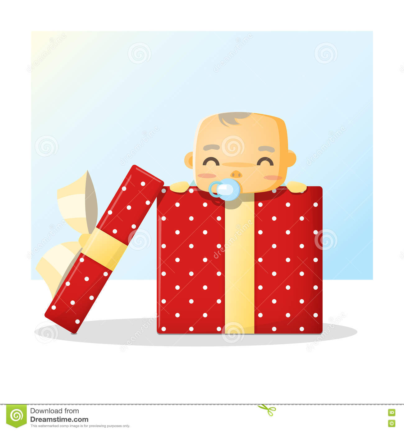 Baby Gift Vector : Cute baby inside gift box background stock vector image