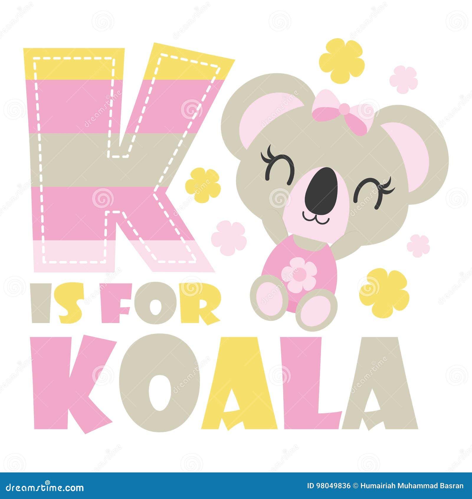Cute Baby Koala With K Colorful Alphabet Cartoon Stock Vector ...