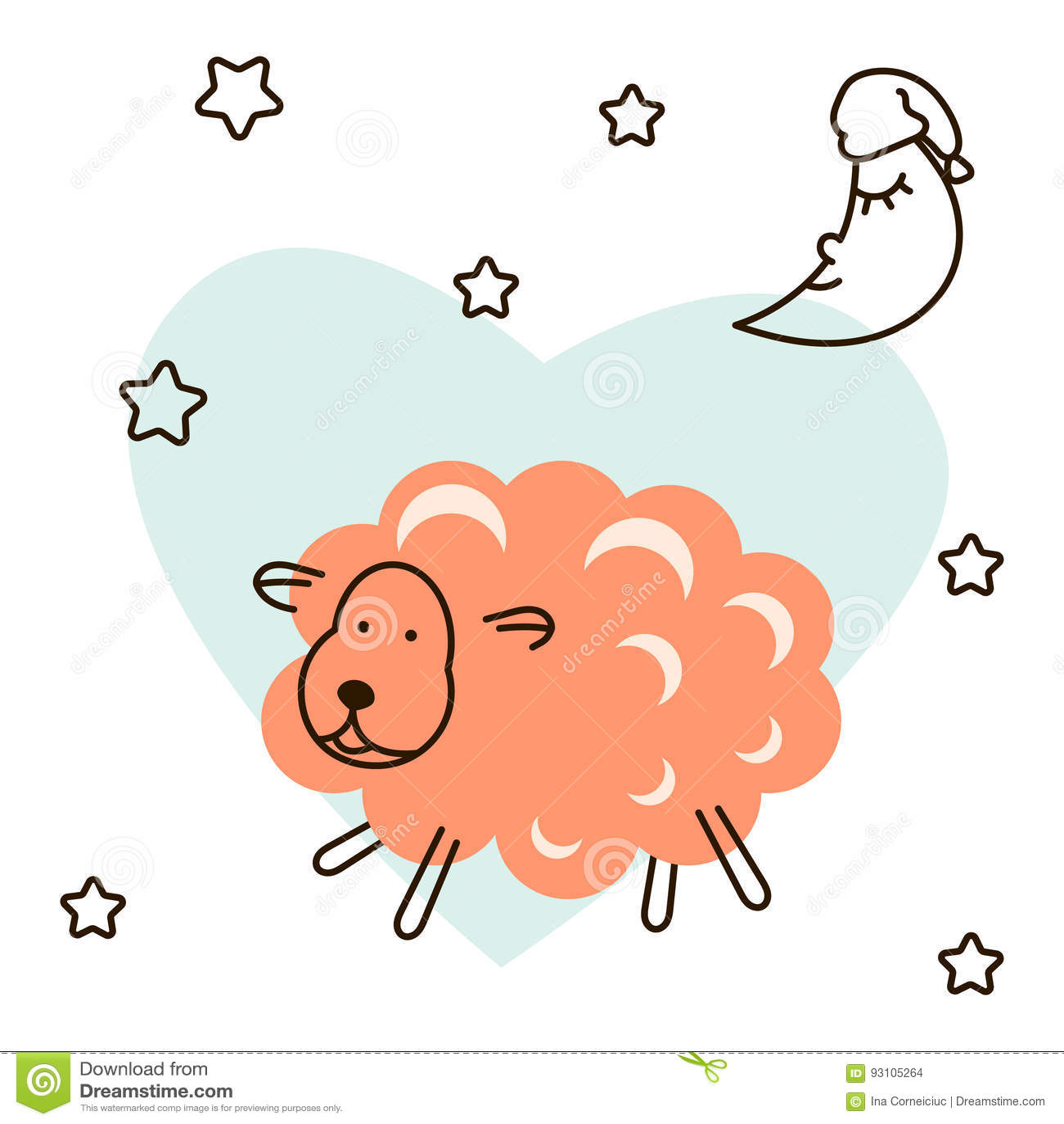 Cute baby lamb cartoon t shirt illustration vector stock for Children s jersey fabric