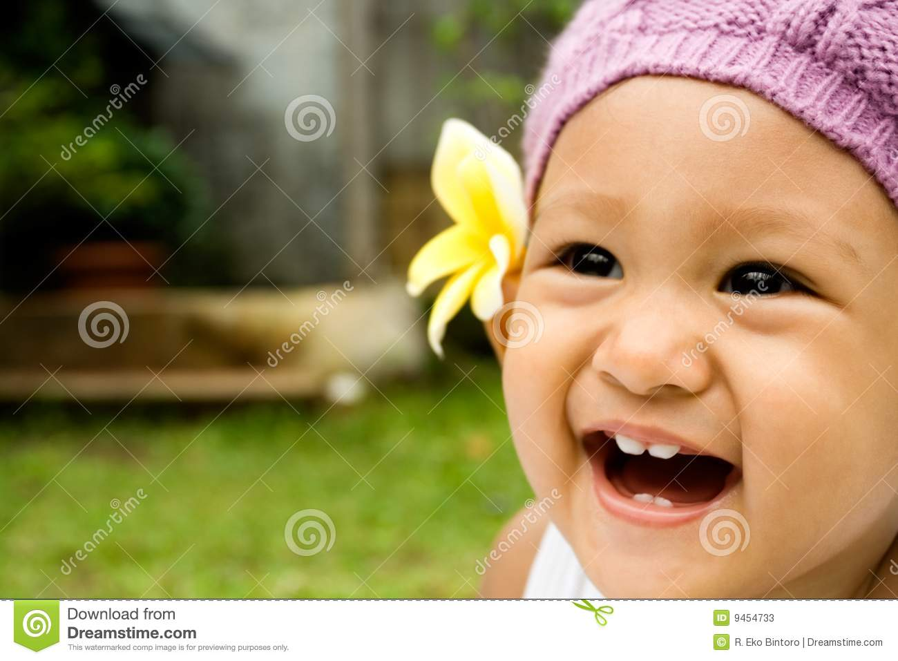 cute baby laughing stock image. image of space, flower - 9454733