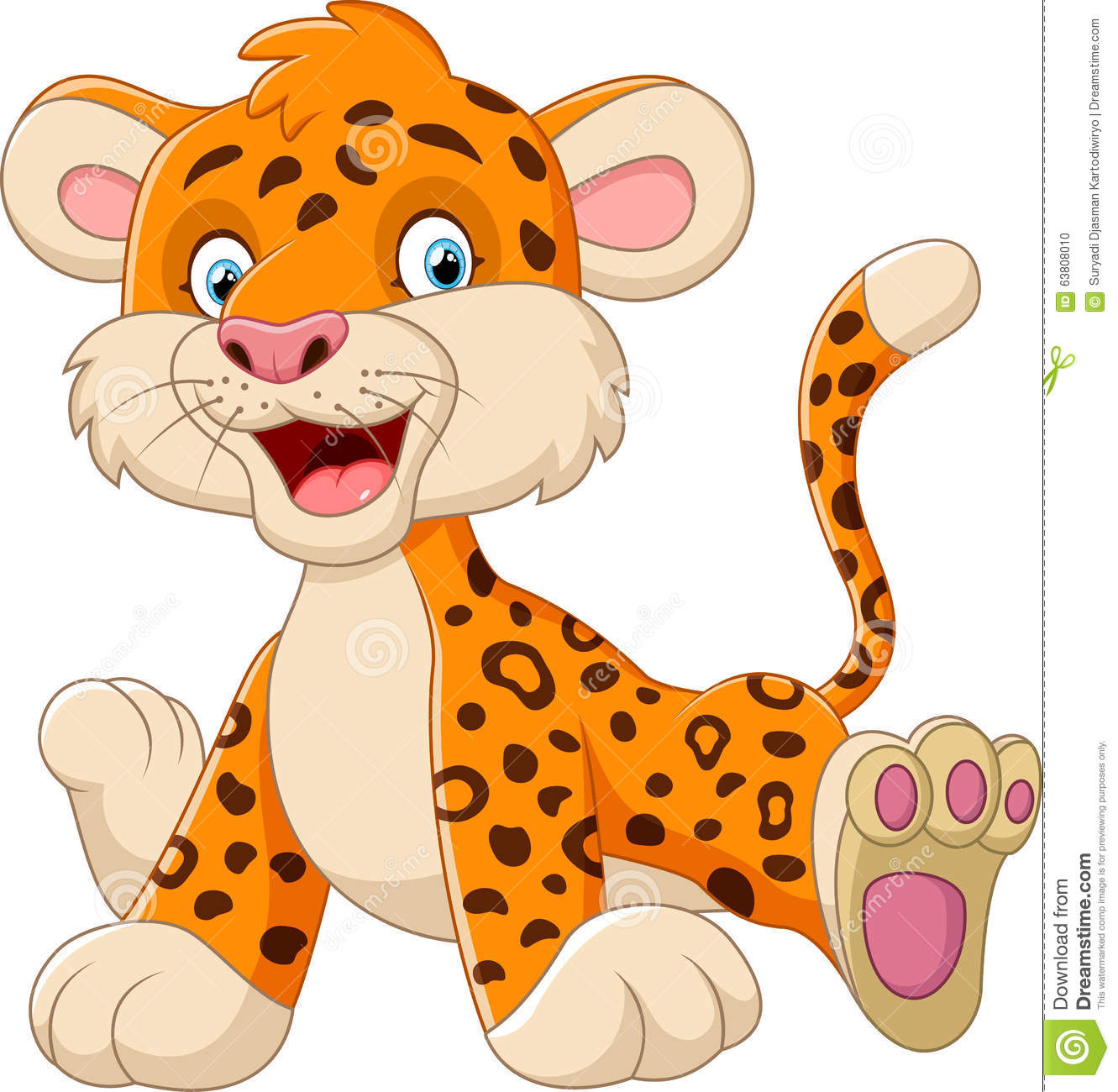 Cute baby leopard cartoon stock vector. Illustration of jungle ... for Clipart Leopard Cute  45gtk