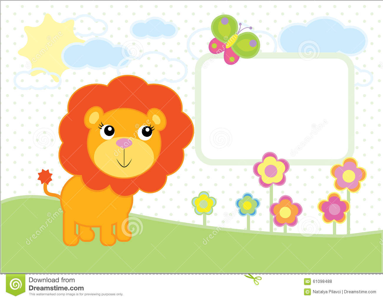 cute baby lion simple vector background stock vector