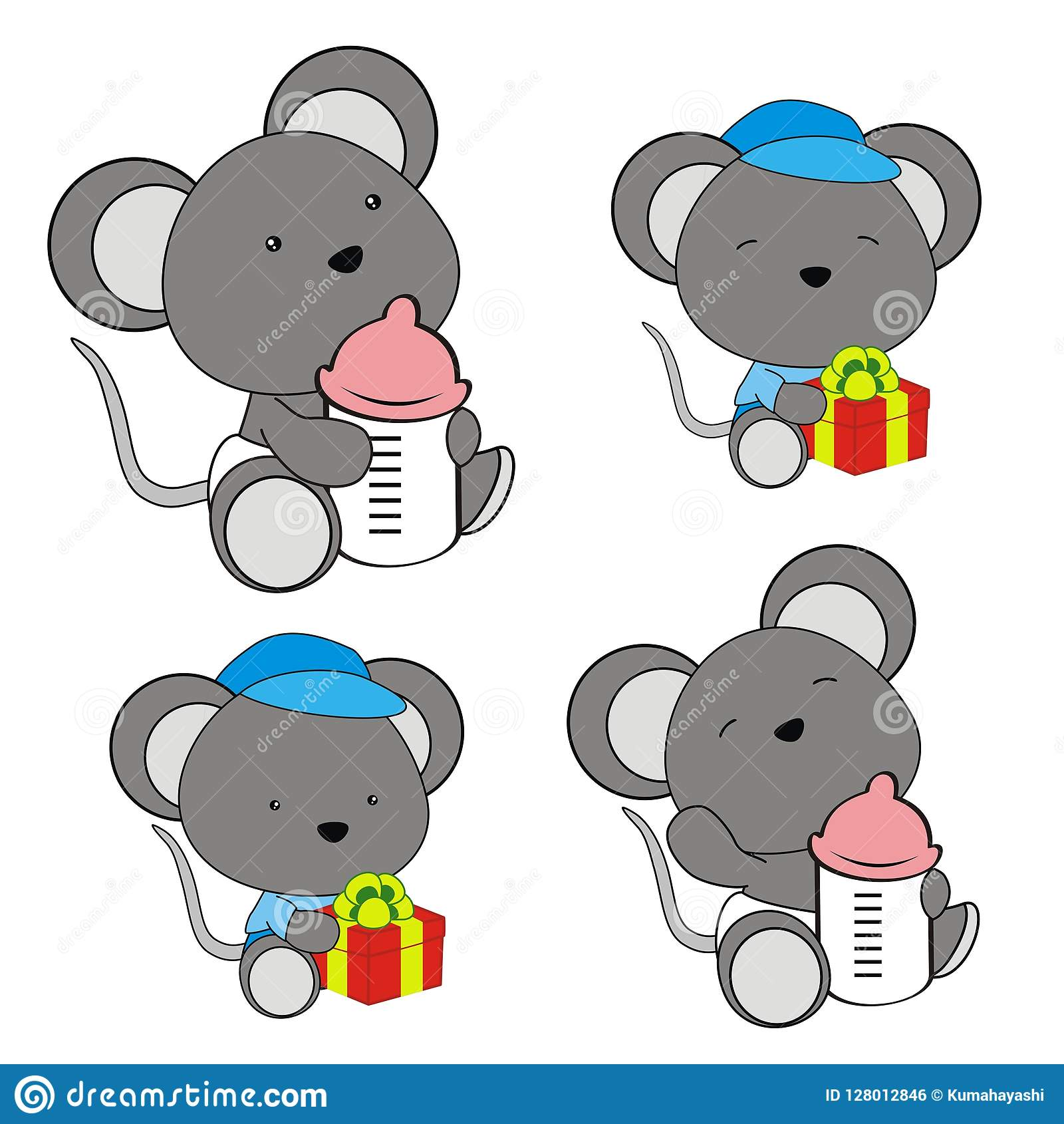 Cute Baby Mouse Cartoon Feeding Bottle Collection Stock Vector Illustration Of Happy Sitting 128012846