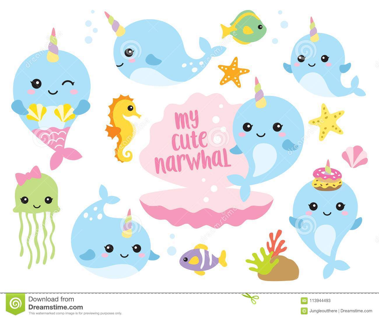 Baby Narwhal Whale Cute Baby Narwhal Or W...