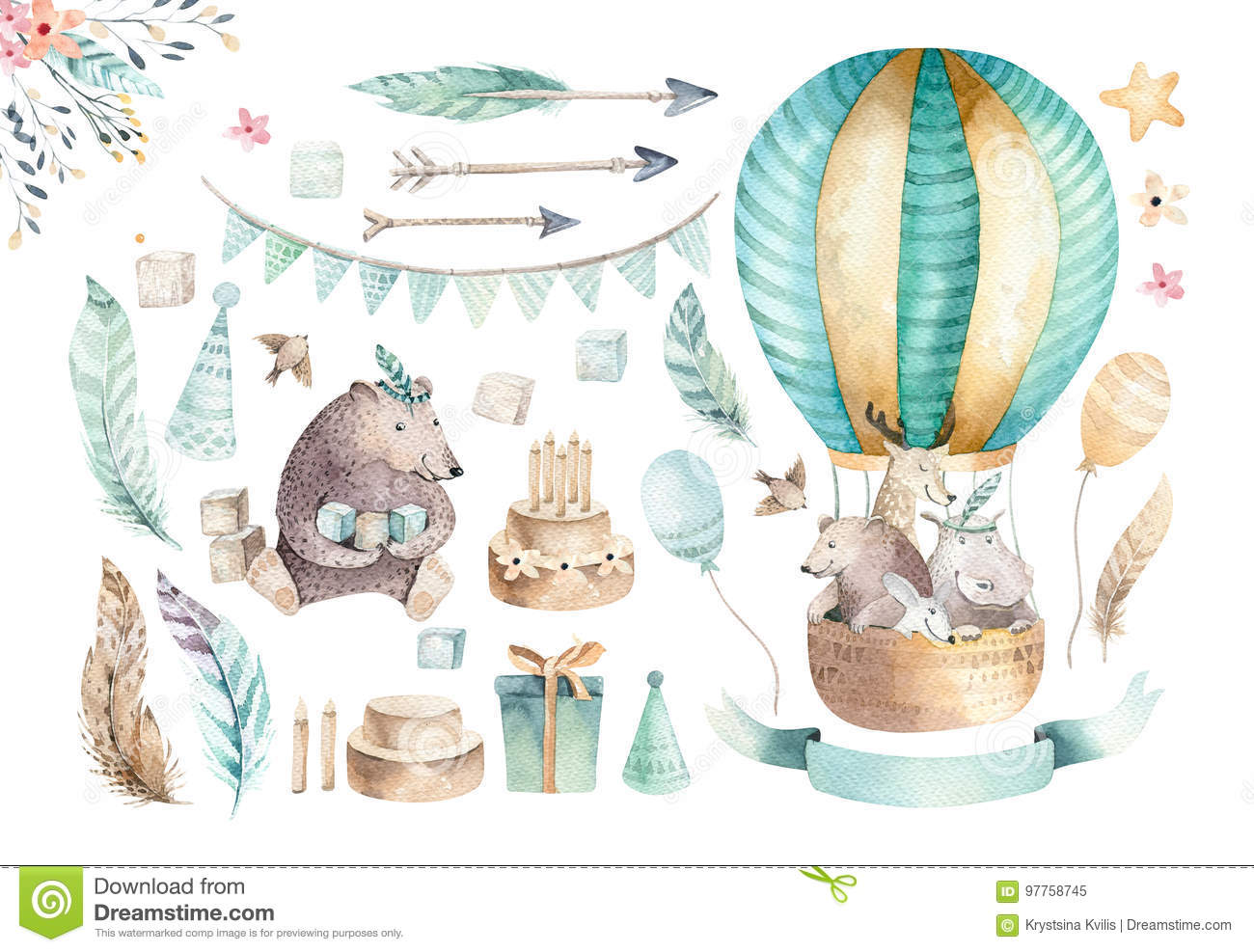 Cute baby nursery on balloon isolated illustration for children. Bohemian watercolor bohemian bear, cat hipo and deer