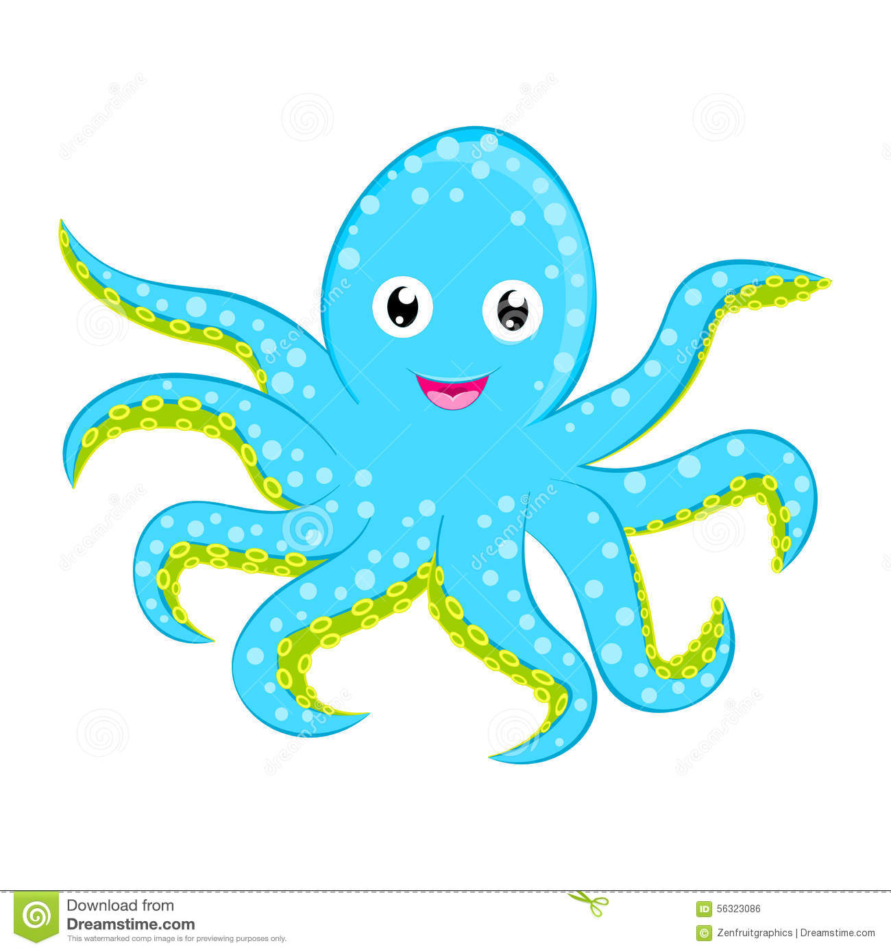 Cute baby octopus vector Cyan blue spotted cartoon character isolated on white background Ocean animal, sea life, funny smiling sq