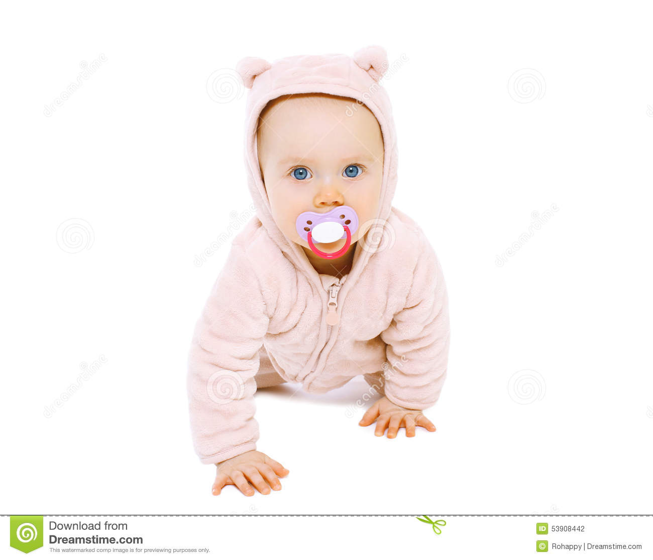 Baby Boy With Pacifier In Multicolored Knitted Cap Royalty ...