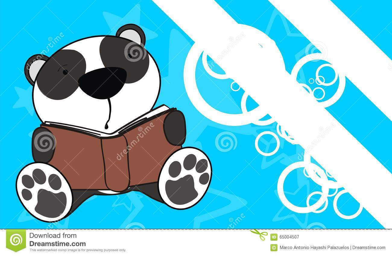 Cute baby panda bear reading cartoon background stock