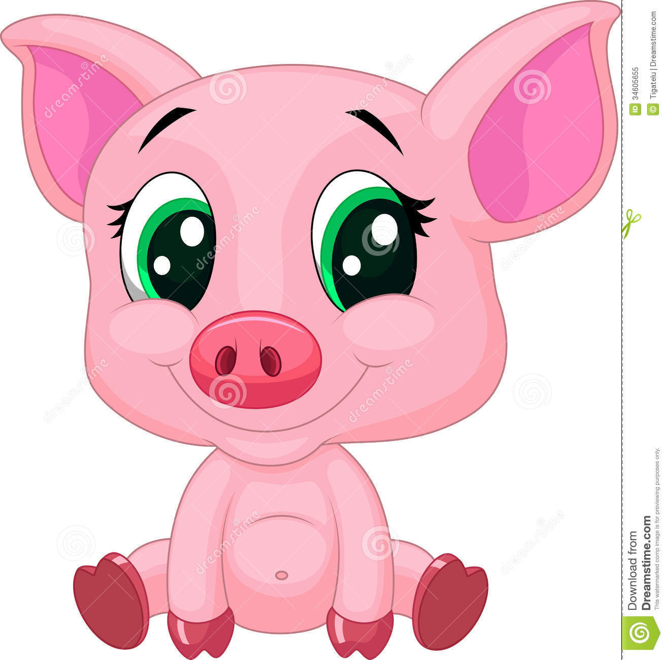 cute baby pig cartoon stock vector illustration of drawing 34605655