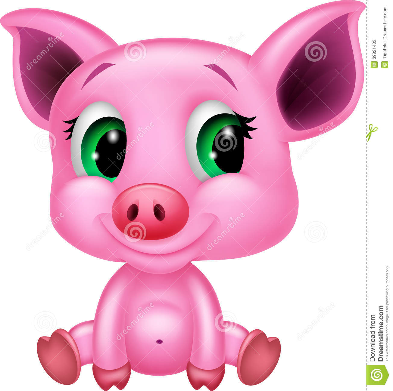 Cute baby pig cartoon stock vector. Illustration of ... Cute Cartoon Pigs With Big Eyes