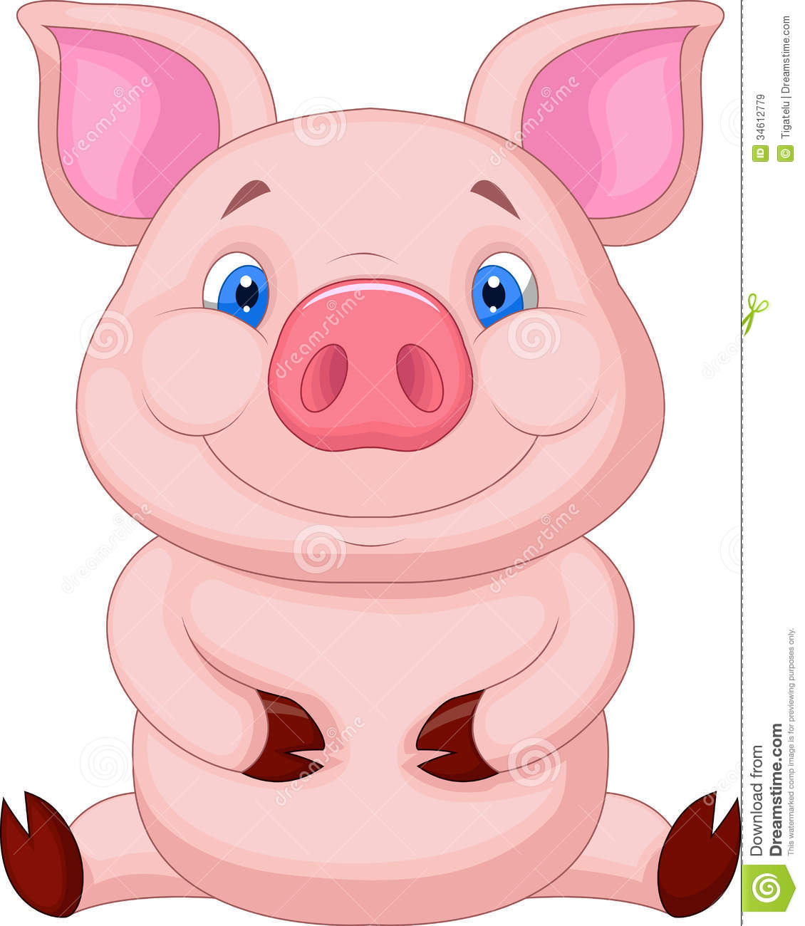 Cute Baby Pig Cartoon Sitting Stock Vector - Image: 34612779