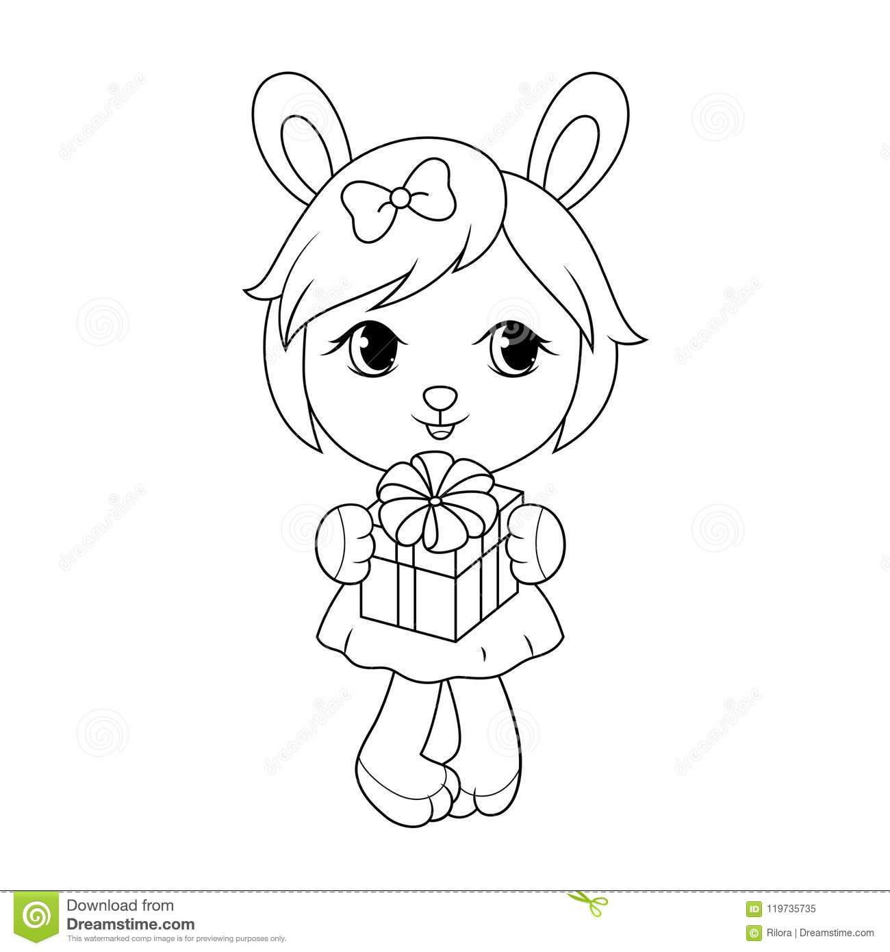 Cute Baby Rabit Girl In Dress Holding Gift Box Adult Coloring Page