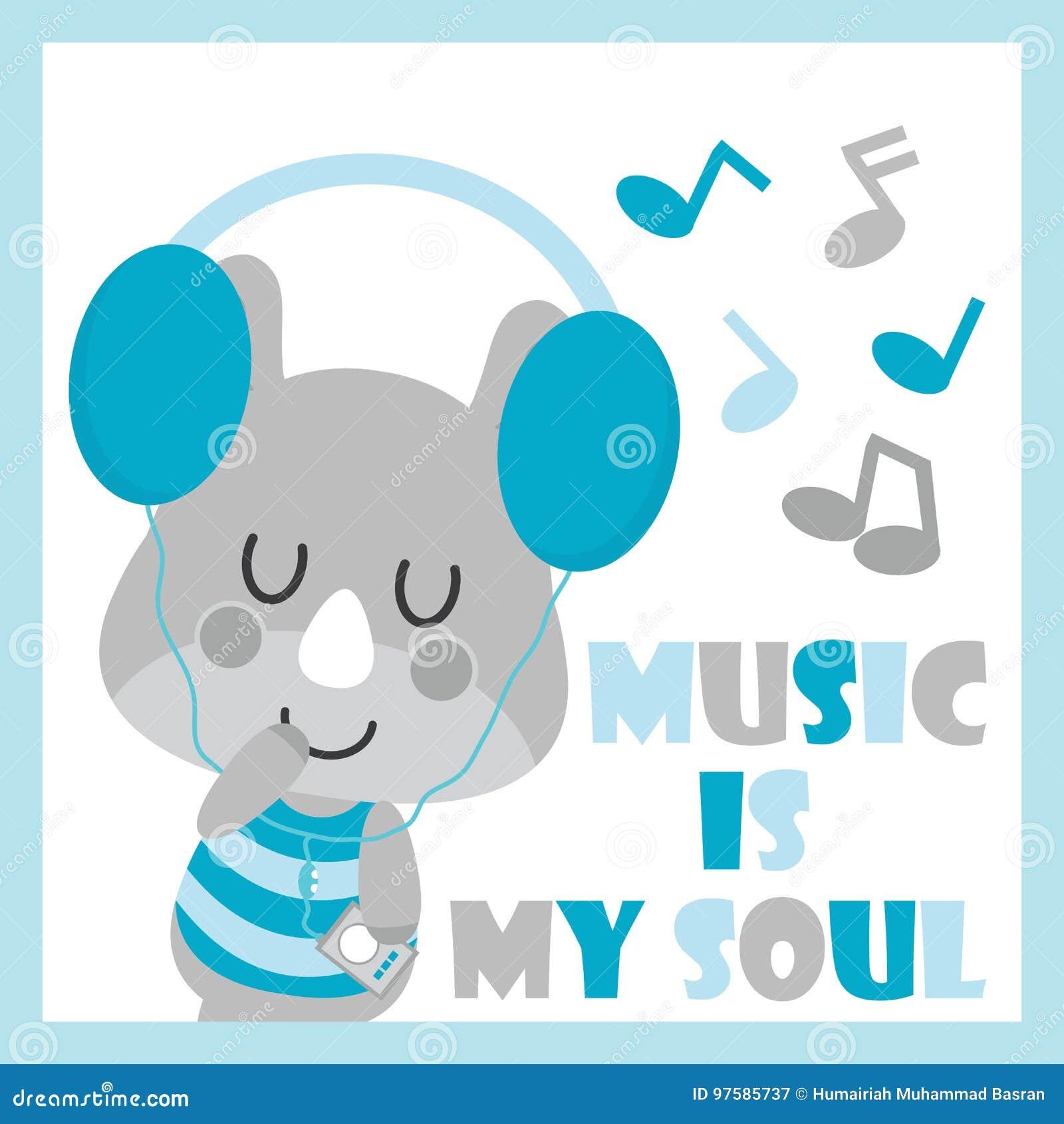 Cute Baby Rhino Is Listening Music Cartoon Illustration For Baby
