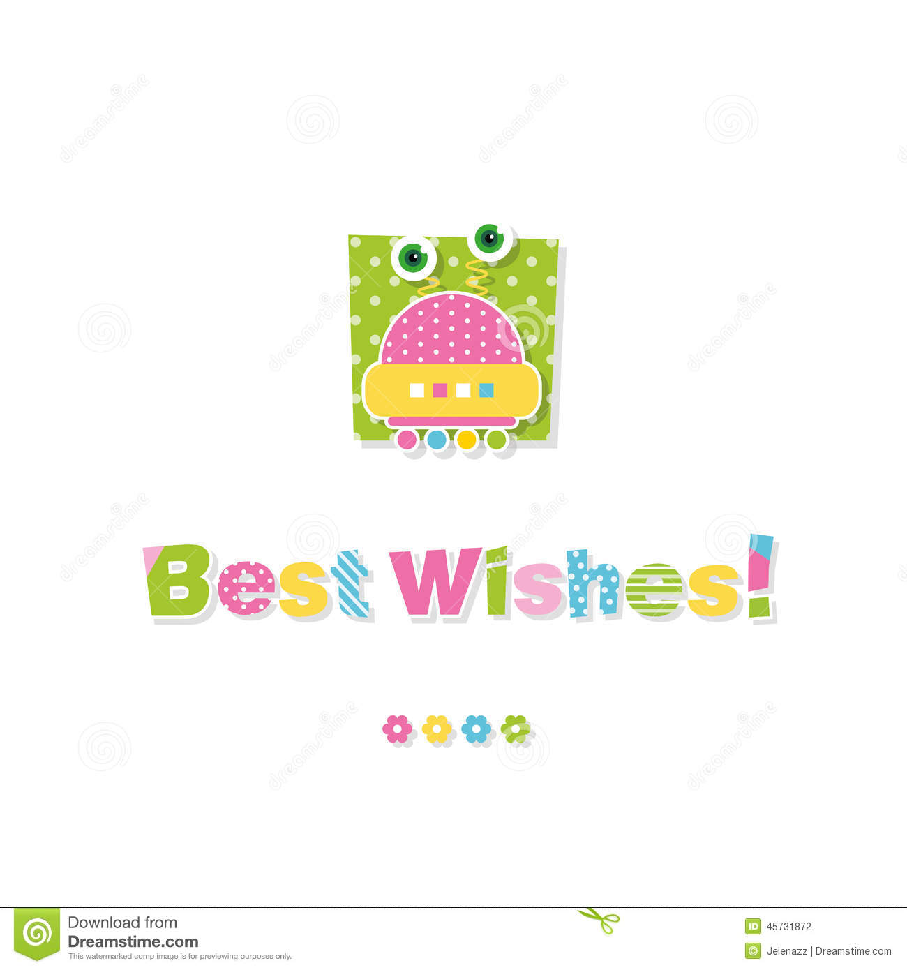 Cute Baby Robot Best Wishes Greeting Card Stock Vector ...