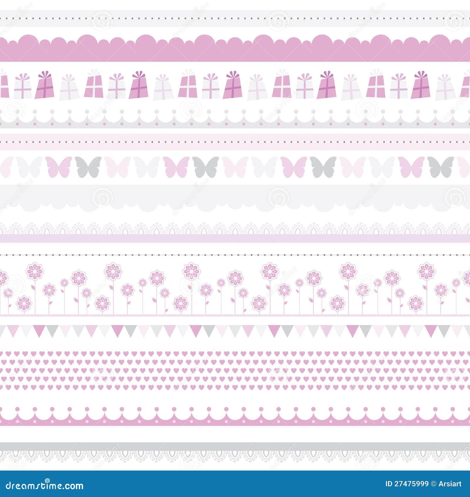Cute baby seamless border. Child birthday pattern.