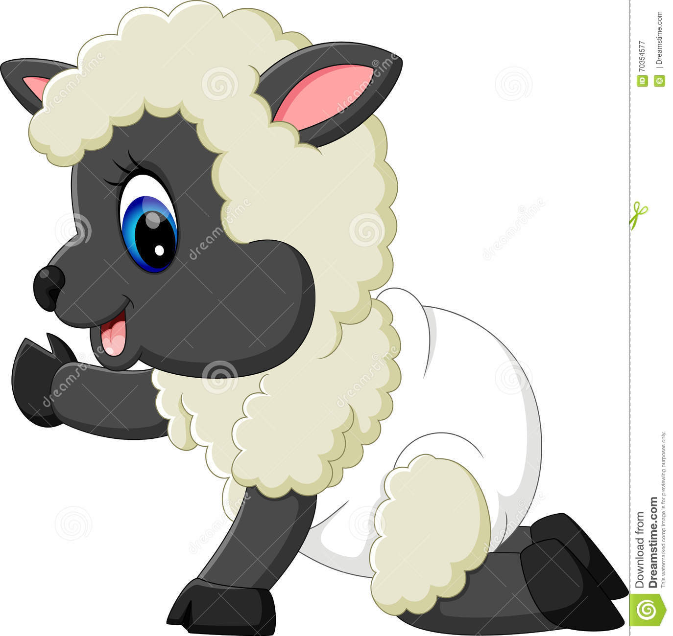 Cute baby sheep cartoon stock vector. Illustration of element - 70354577 for cute animated sheep  585ifm