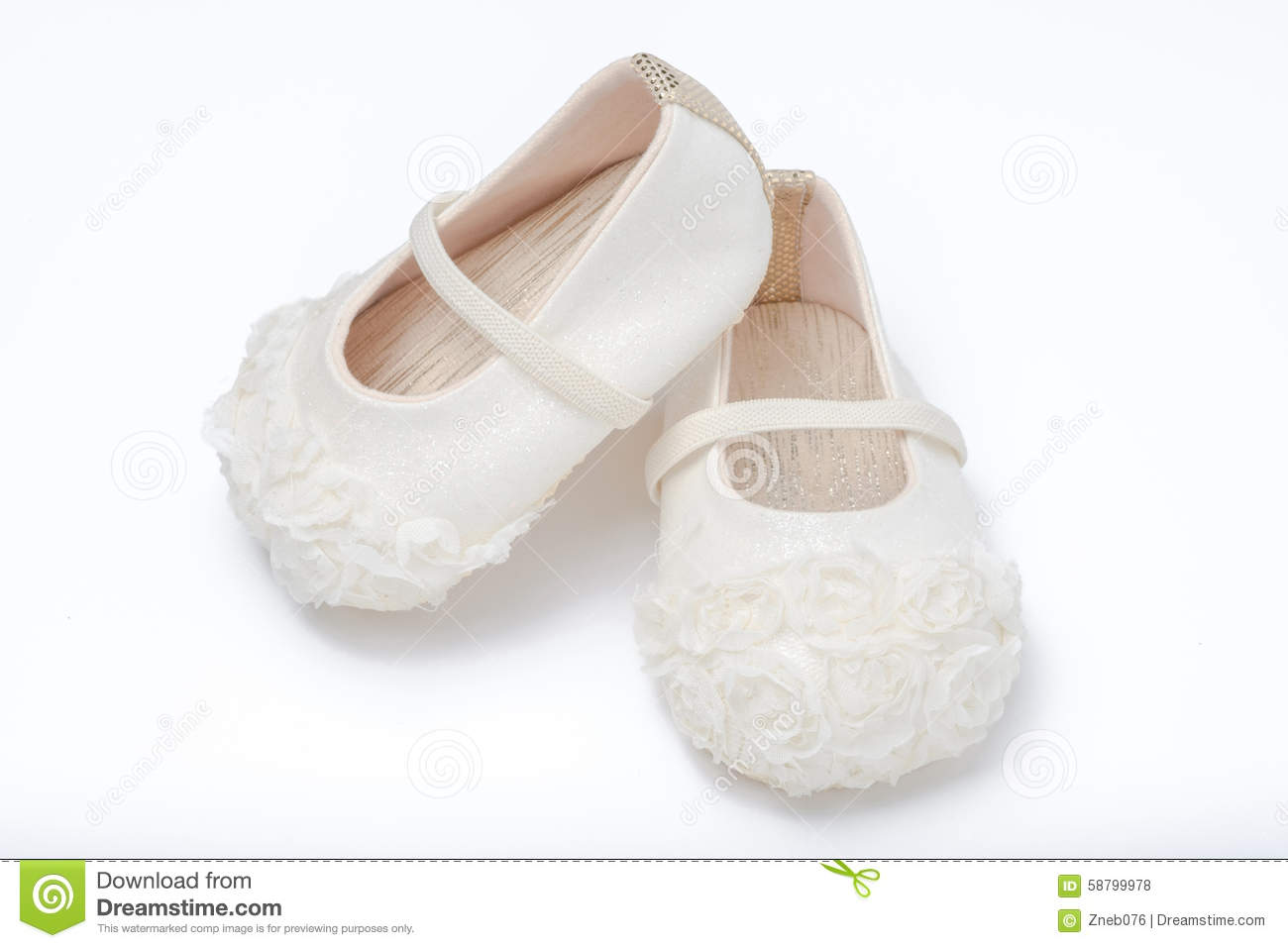 Cute Baby Shoes For Girl Kids White Background Stock