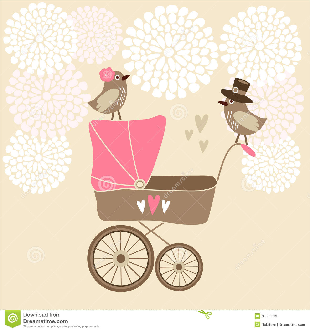 Cute Baby Shower Card With Baby Carriage Stock Vector