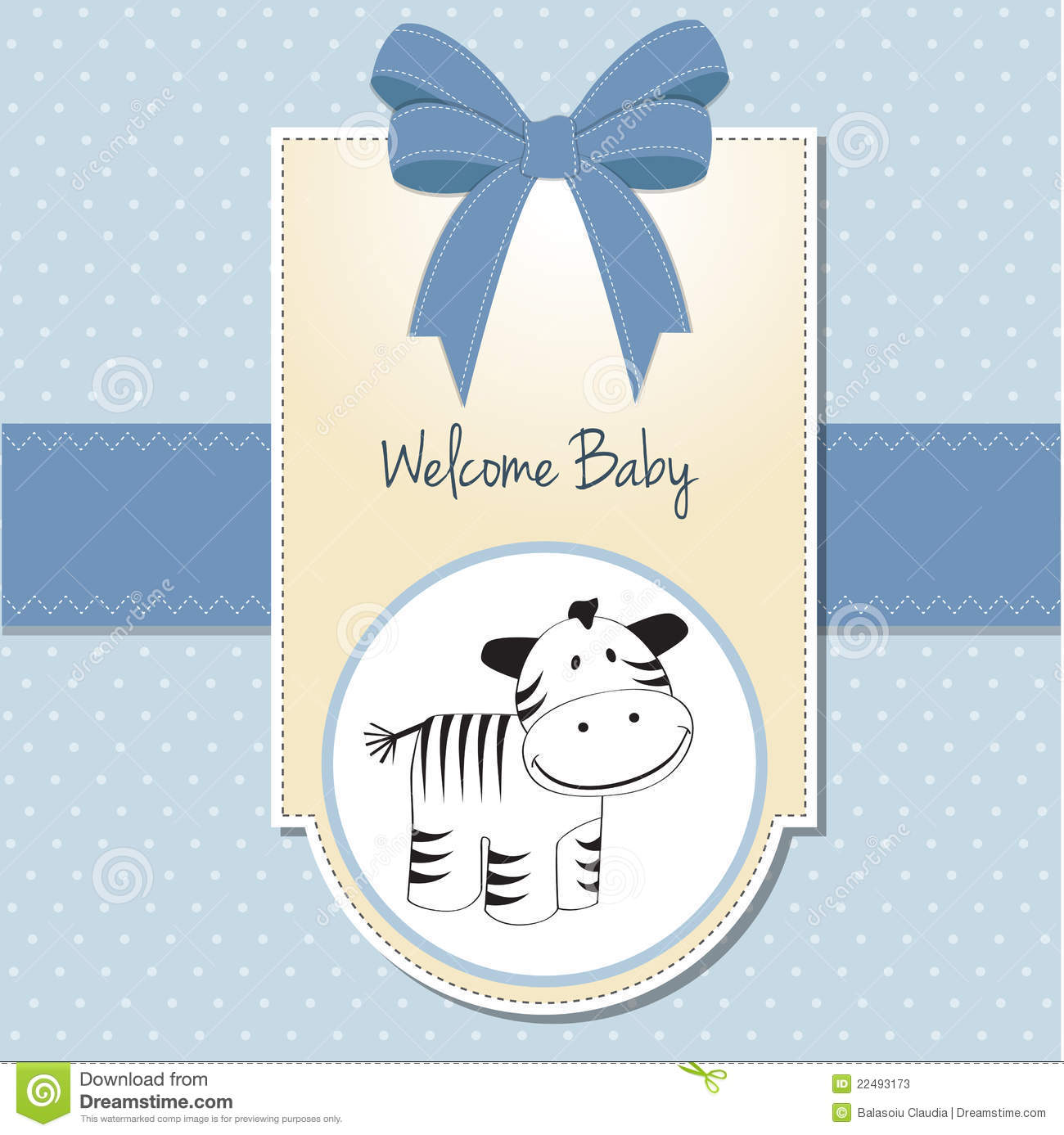 cute baby shower card with zebra stock photos image 22493173