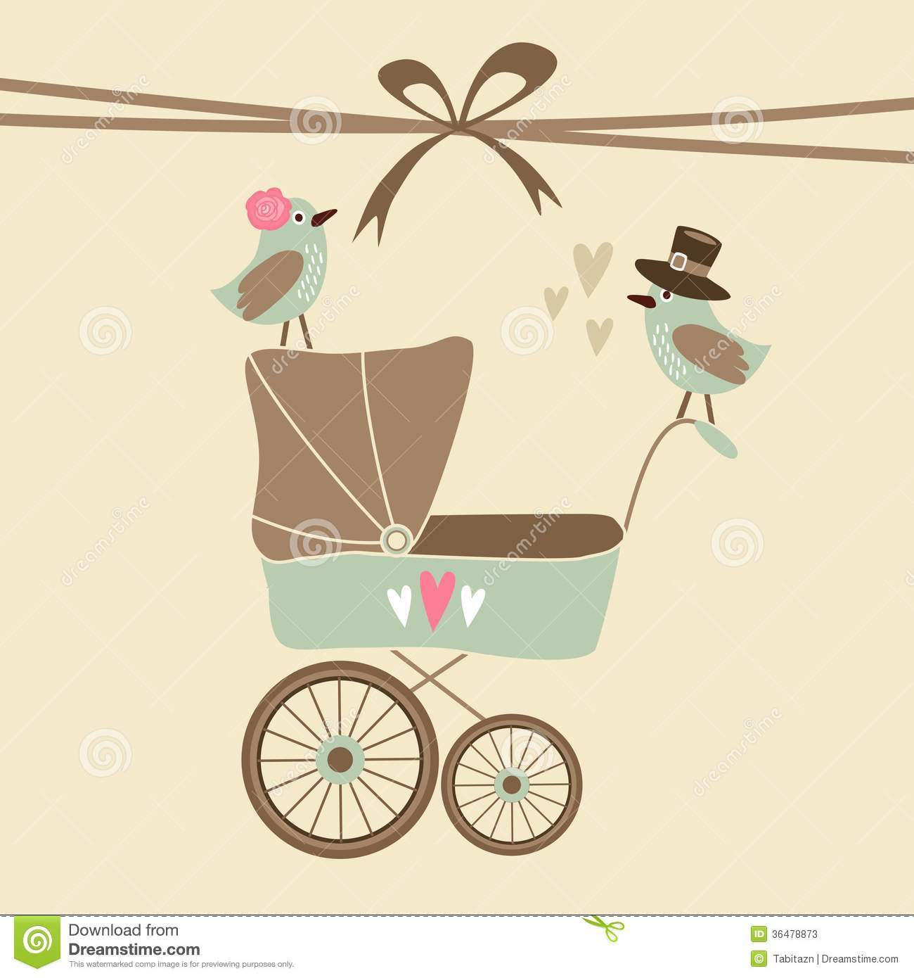 Cute baby shower invitation, birthday card with baby carriage and ...