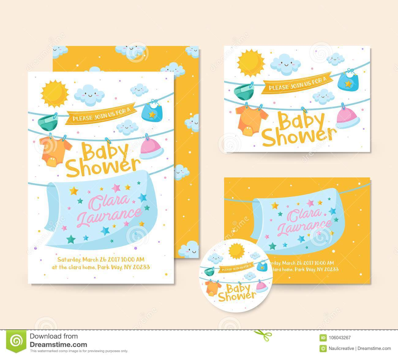 1615ff748d6f Cute Baby Blanket And Clothing Theme Baby Shower Invitation Card ...