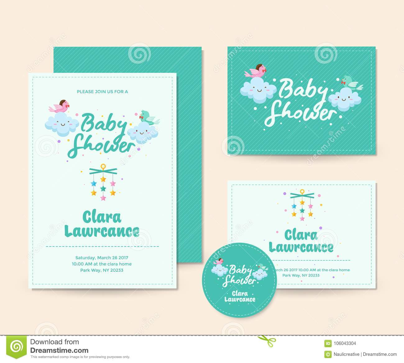 Cute Cloud Theme Baby Shower Invitation Card Illustration Template