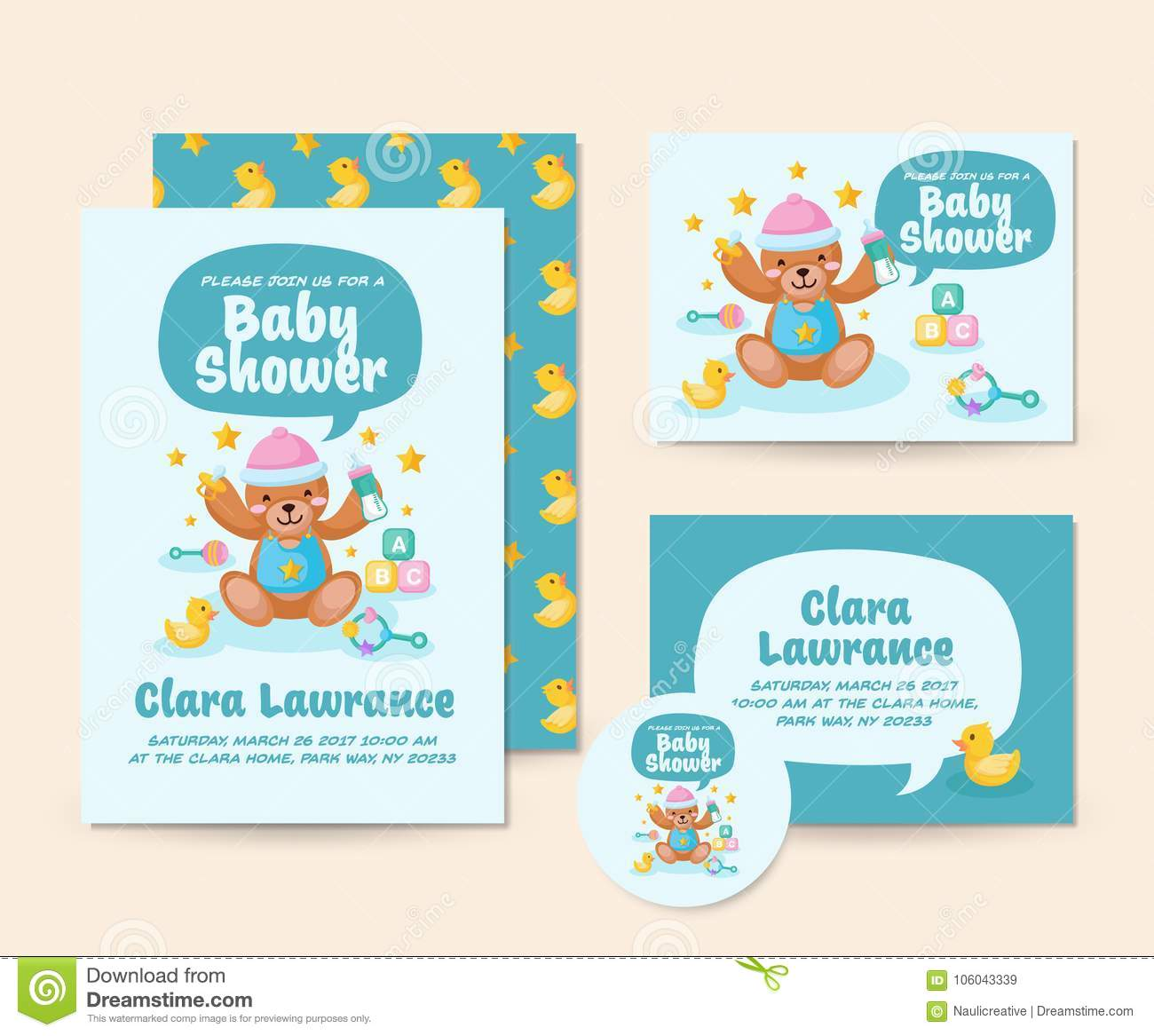 e3396ad0247c Cute Teddy Bear Theme Baby Shower Invitation Card Illustration ...