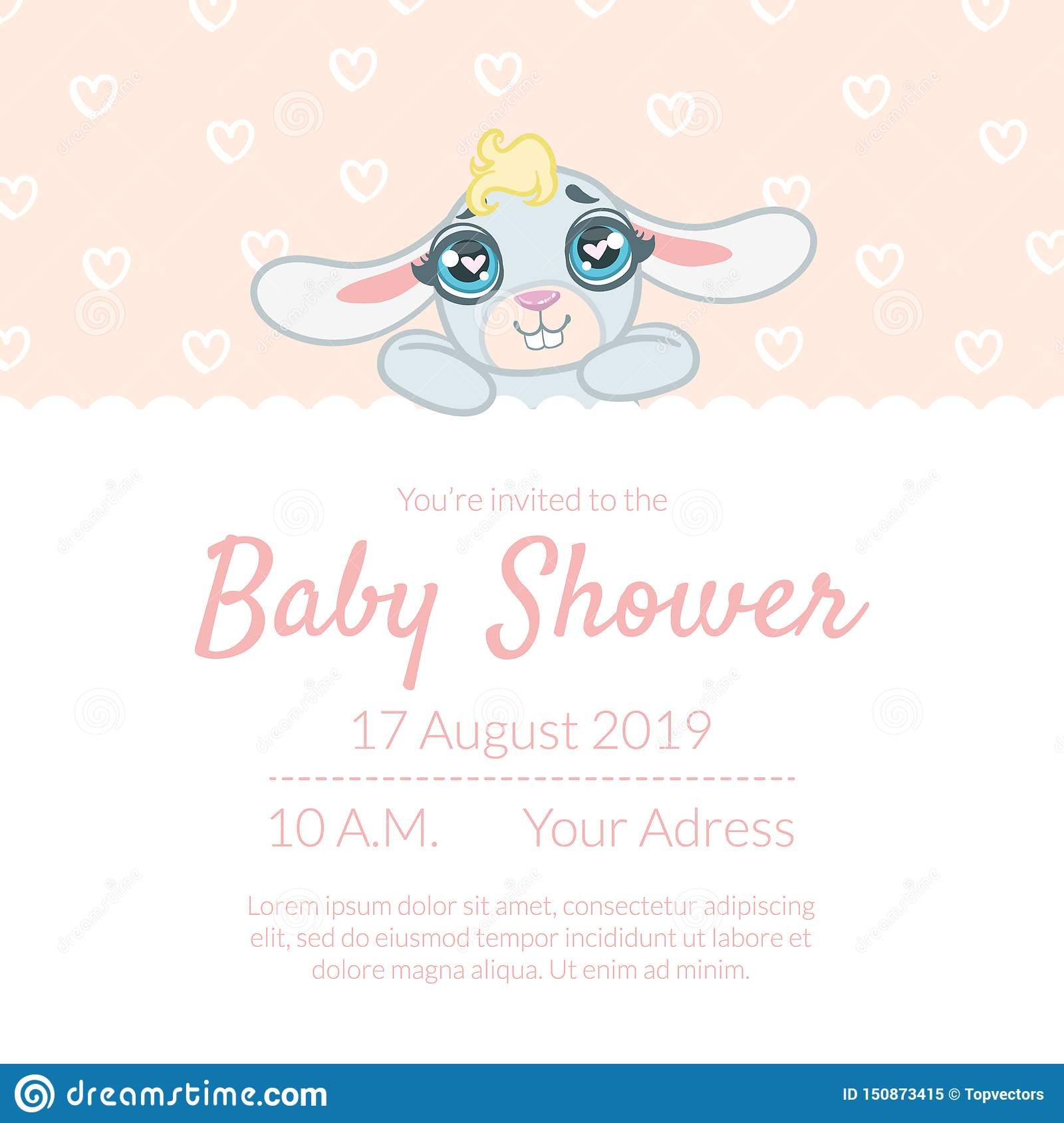 Cute Baby Shower Invitation Card Template With Place For