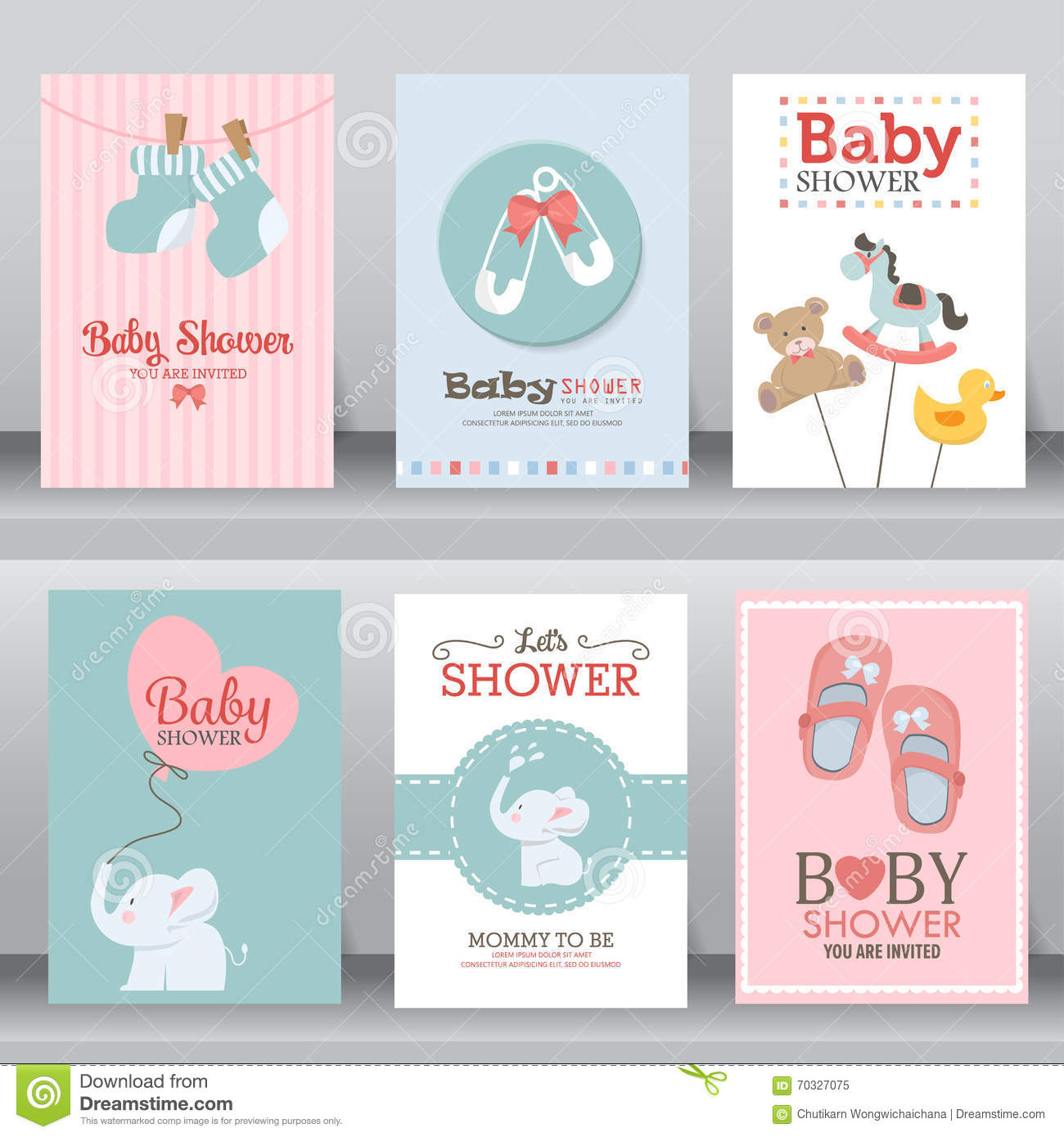 cute baby shower invitation vector