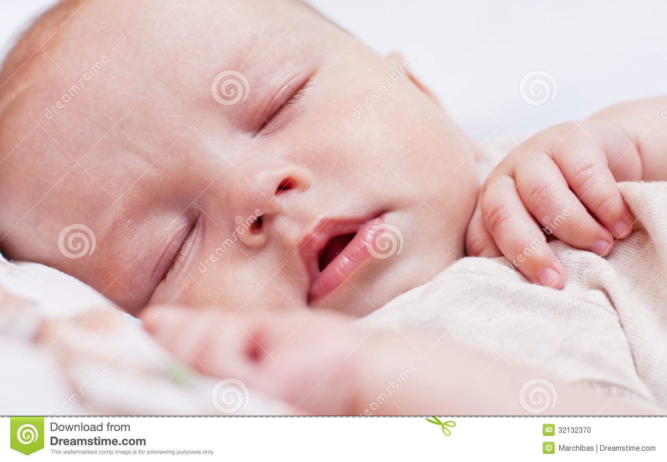 Cute Babies Sleeping Images: Cute Baby Sleeping Stock Photo