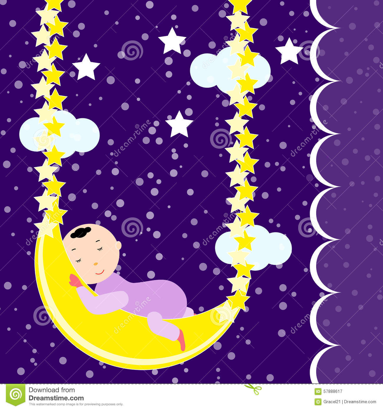 cute baby sleeping on the moon stock vector
