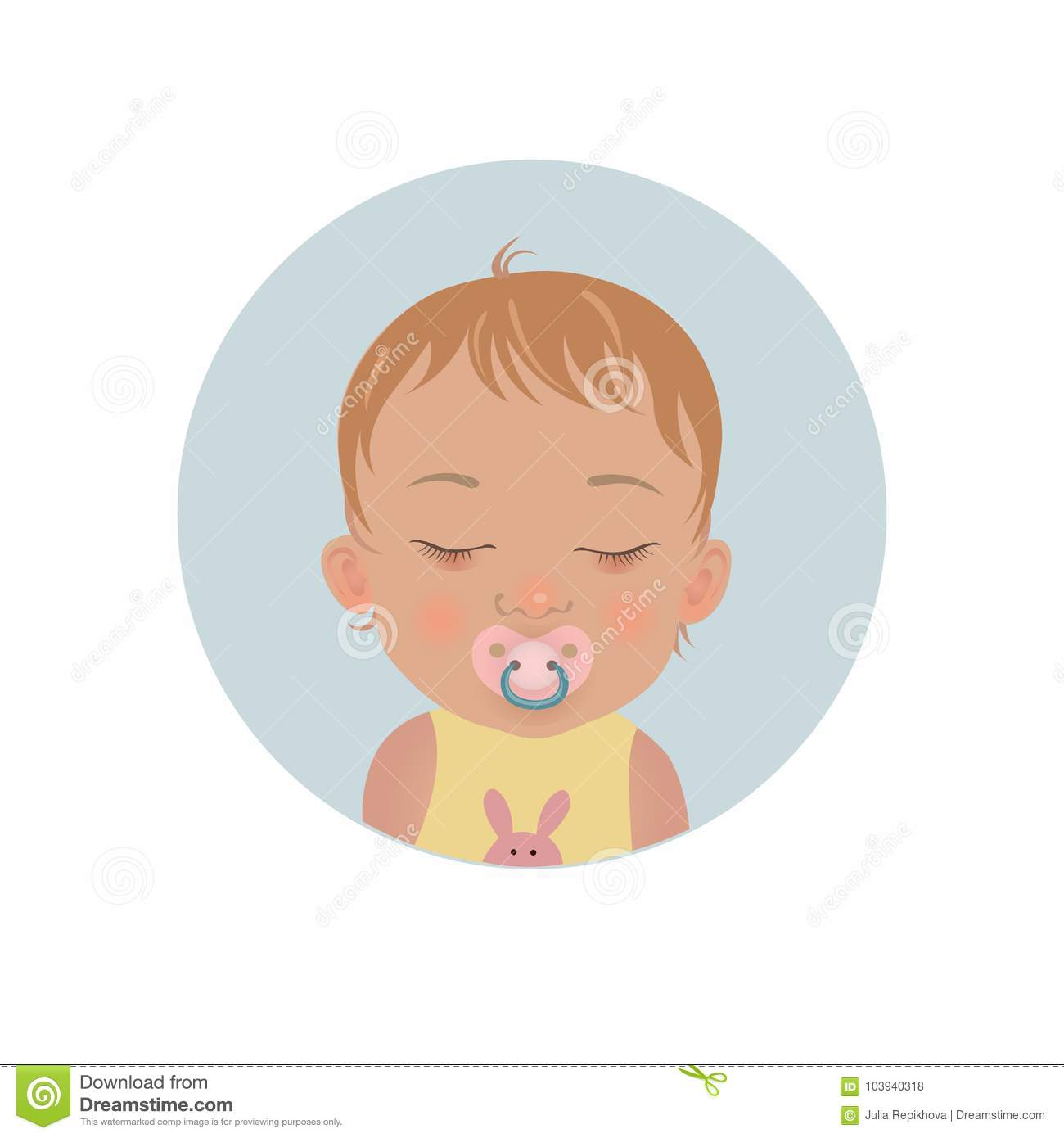 Cute Baby Sleeping With Soother Emoticon  Sleepy Child With Pacifier