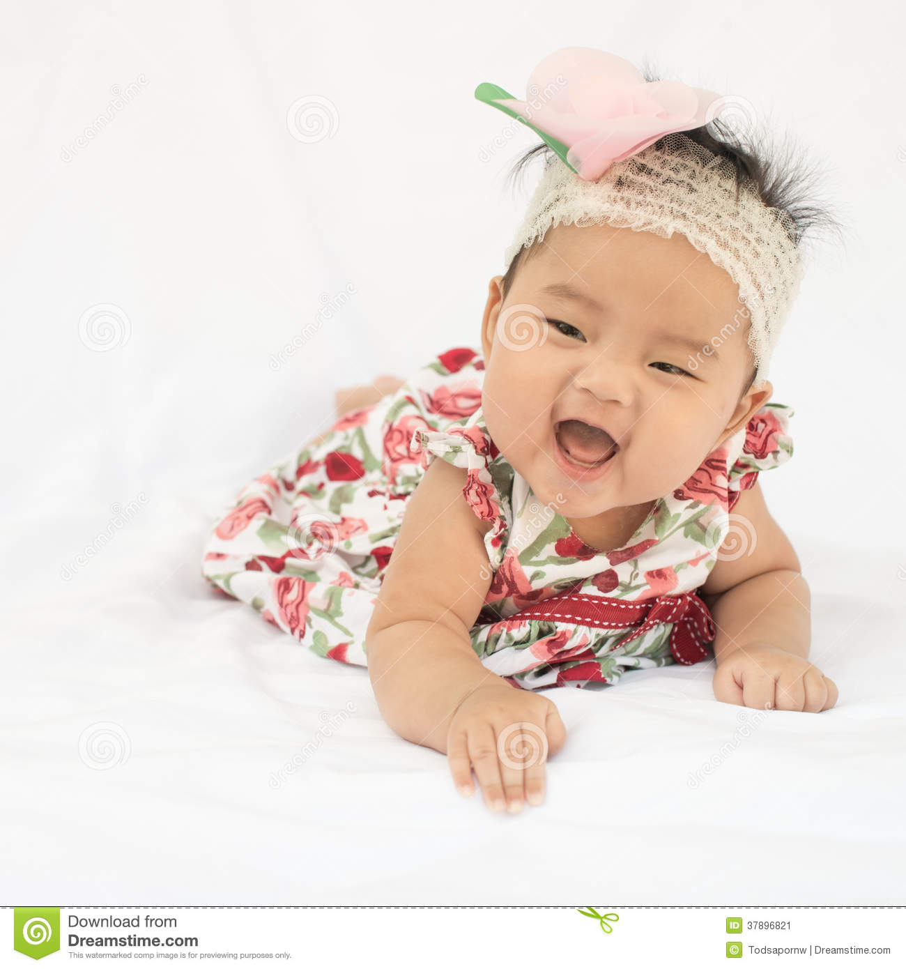 cute baby smiling girl with rose headband stock image - image of