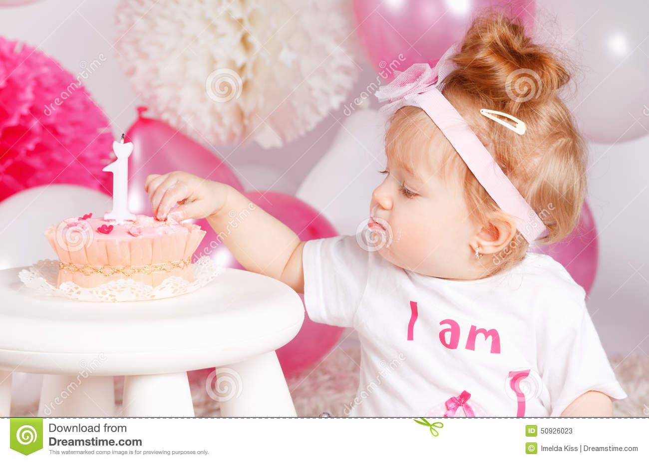 Cute Baby Tasting The Birthday Cake Stock Image Image 50926023