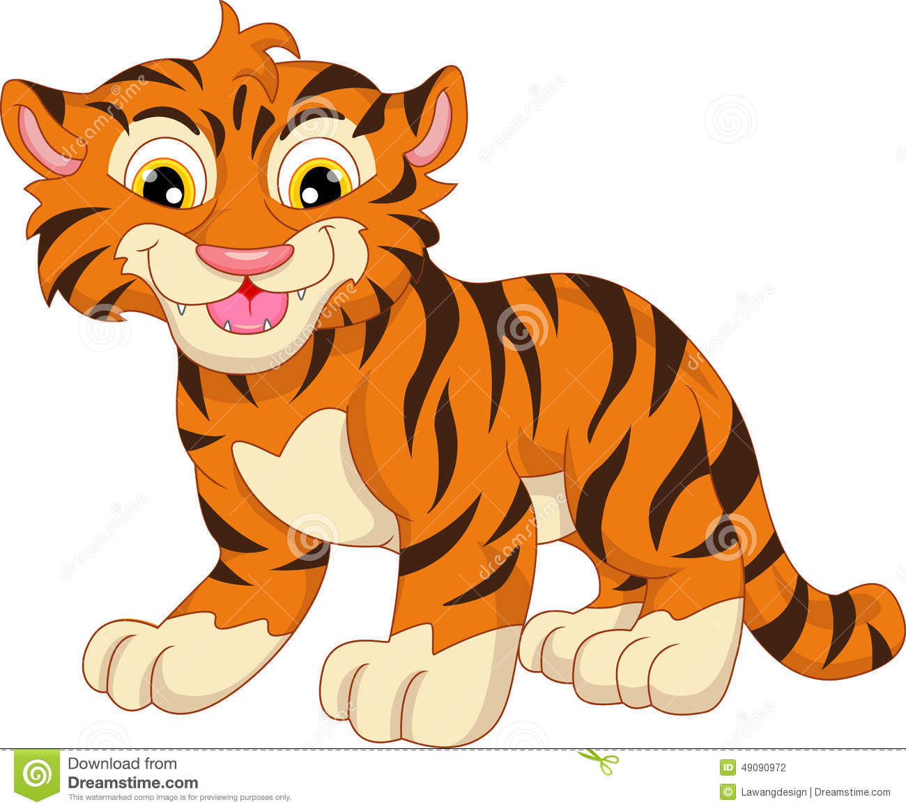 Cute Baby Tiger Cartoon Stock Vector - Image: 49090972