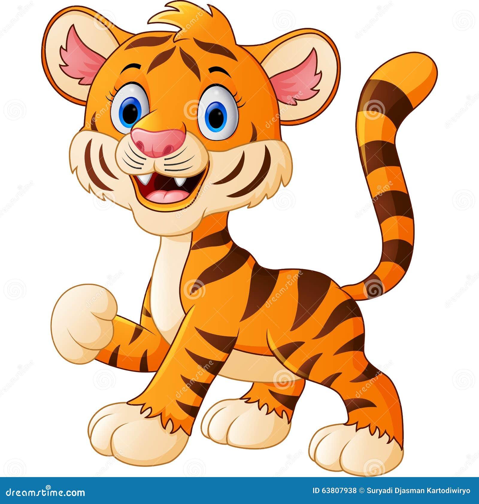 Baby tiger realistic cartoon