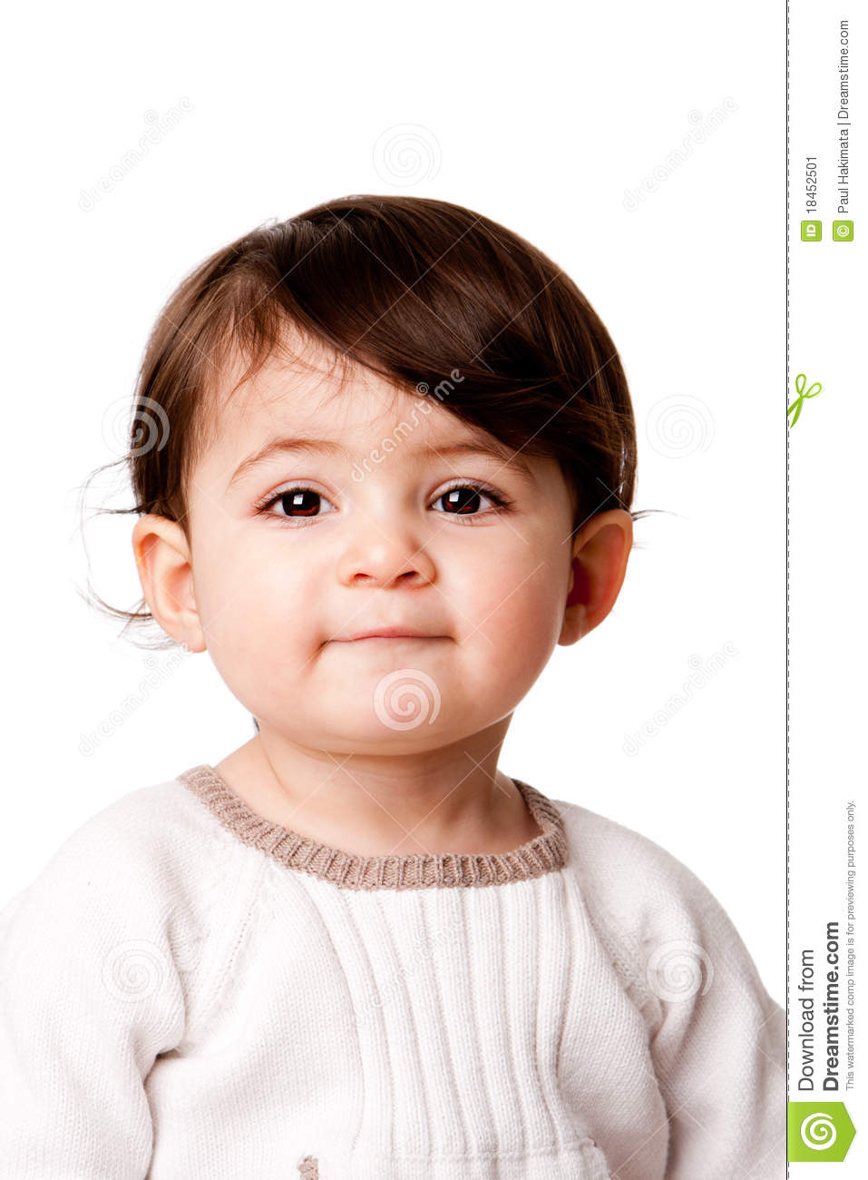 Cute Baby In Orange Shirt Puzzled Stock Photo ...