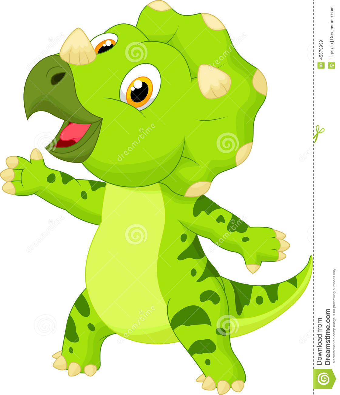 cute baby triceratops cartoon stock vector image 45673939