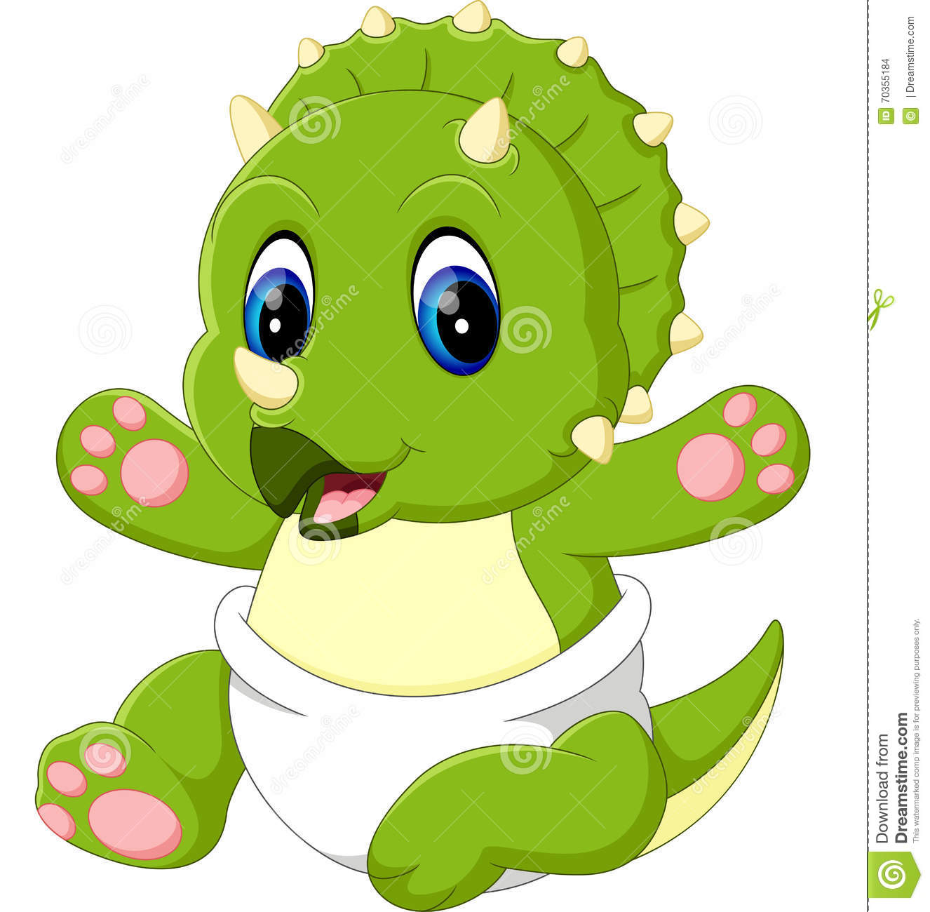 Cute Baby Triceratops Cartoon Stock - 130.2KB